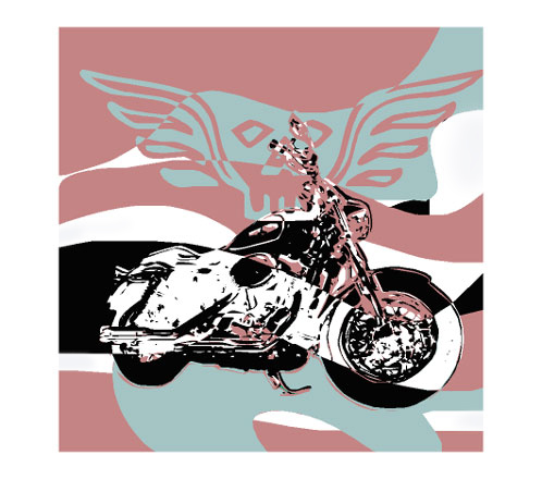 Motorcycle is in the foreground. In the background biker symbols - skull with wings. A work of art for the rocker scene.