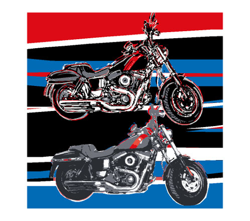 Two Harley-Davidson characterize this work of art. In three colors red blue and black of the artwork is executed. A hymn to the motorcycle. A feast for the eyes for the biker.