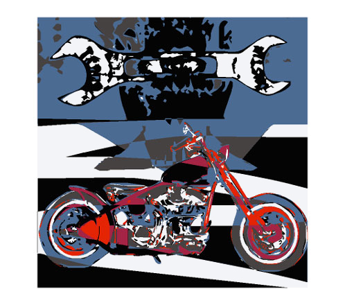 A biker artwork for the motorcycle mechanic. The wrench dominated this art. The motorcycle is equal in picture. Bikers who like to repair addressed.